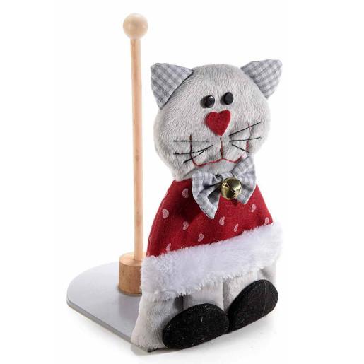 Suport rola hartie lemn textil rosu gri model Pisica cm 15 x 20 cm x 29 h