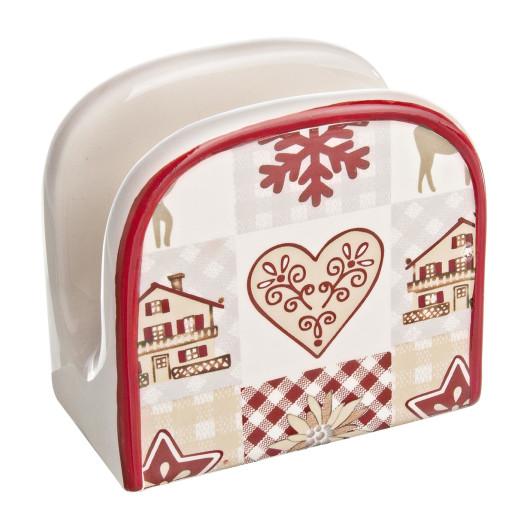 Suport ceramic servetele Craciun alb rosu 10x6x10h