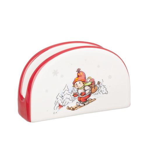 Suport ceramic servetele Craciun alb rosu 12x4x9h