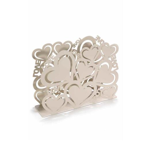 Suport pentru servetele metal bej Love cm 15 cm x 4 cm x 10 cm