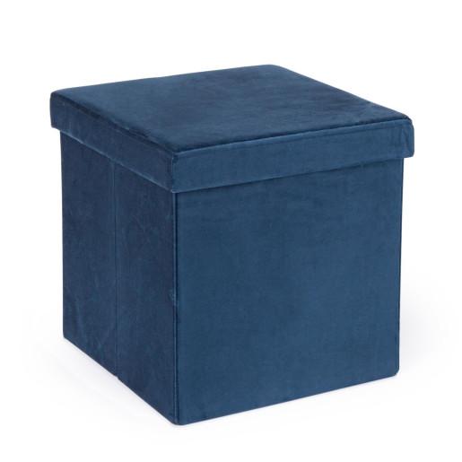 Taburet pliabil cu spatiu depozitare catifea albastru 38 cm x 38 cm x 38h