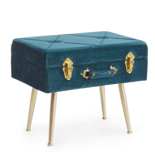 Taburet cu spatiu depozitare tapiterie velur albastru cu picioare fier auriu Polina 50 cm x 34 cm x 42 h