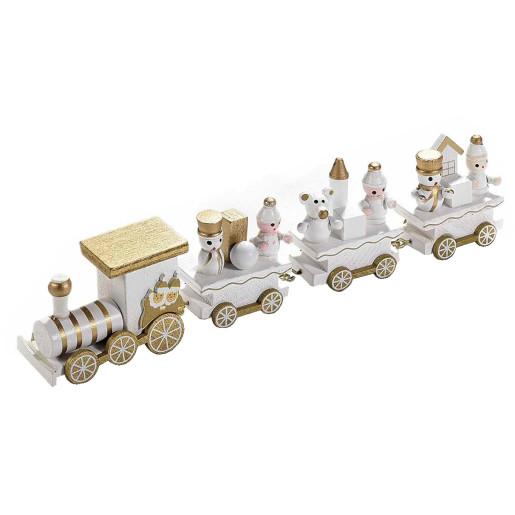 Trenulet lemn alb auriu cm 22 x 3 x 5 H