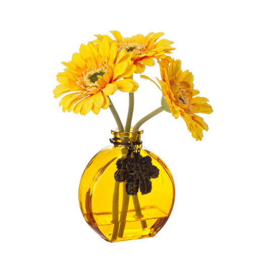 Set vaza sticla cu 3 flori gerbera artificiala galbena 20 H