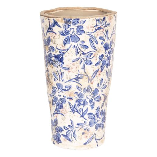 Vaza decorativa ceramica alb albastru Flowers Ø 14 cm x 25 cm
