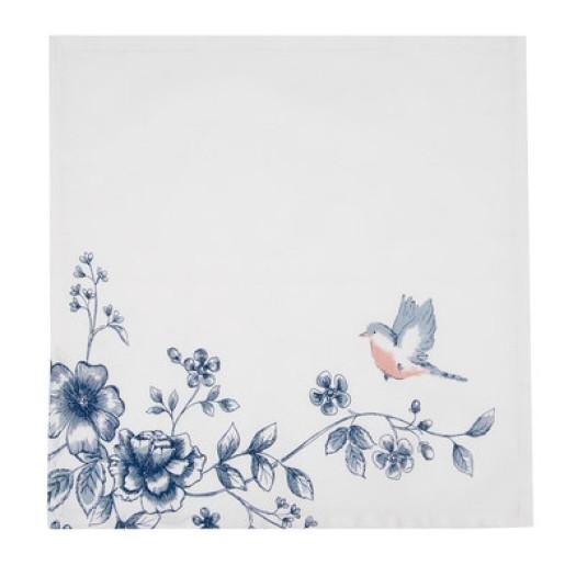 Cos paine bumbac alb albastru Bird 35 cm x 35 cm x 8 cm