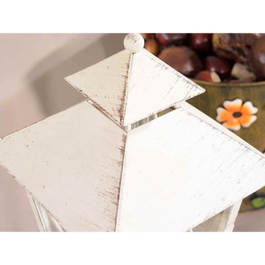 Felinar fier forjat alb antichizat cm 14 x 14 x 61 H