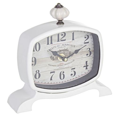 Ceas de masa metal alb Chateau Margaux 19X18 cm