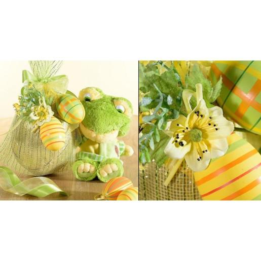 Set 6 oua decorative plastic suspendabile galben portocaliu verde