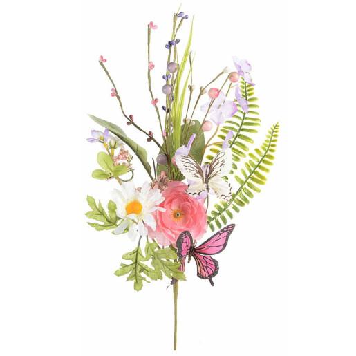 Crenguta artificiala flori albe roz si fluturasi 42 cm