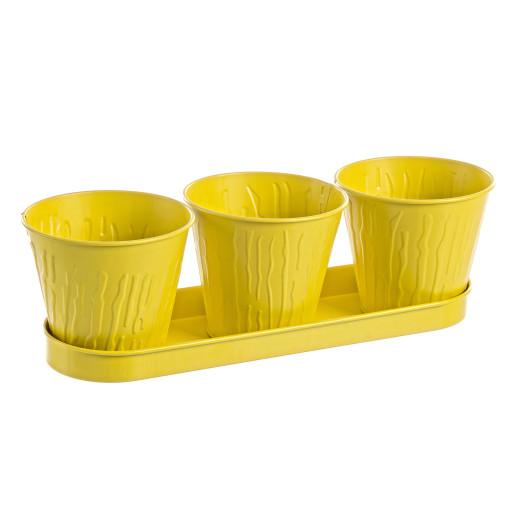 Ghiveci metal galben pentru flori triplu 36x12x10h