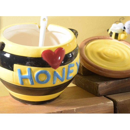 Borcan pentru miere cu lingurita ceramica Ø 11 cm x 12 cm  160 ml