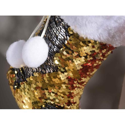 Ciorap decorativ Craciun cu paiete aurii reversibile cm 18 x 27 H