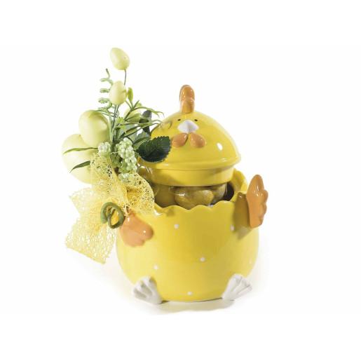 Bol decorativ cu capac model Gaina galben cm 12 x 12 x 14 H