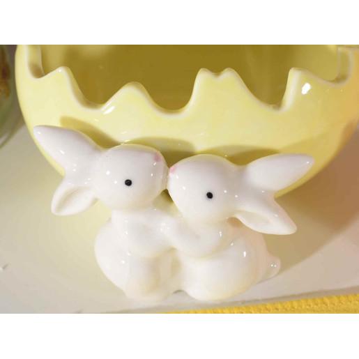 Ou Paste ceramica model Iepurasi galben cm 11 x 11cm x 6 H