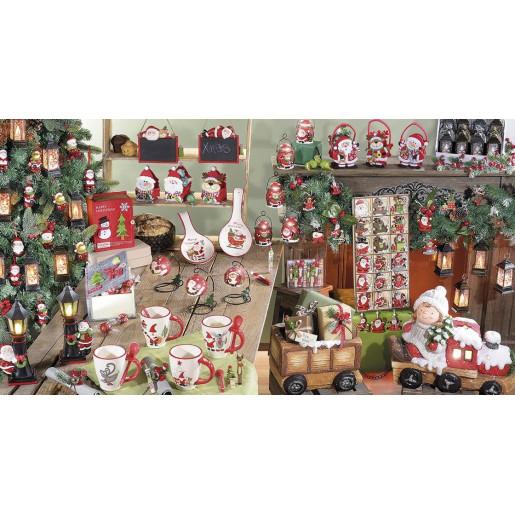 Felinar decorativ Mos Craciun ceramica cu led cm 10 x 23 H
