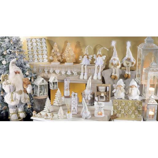 Figurina Mos Craciun alb auriu 32 cm x 30 cm x 80 h