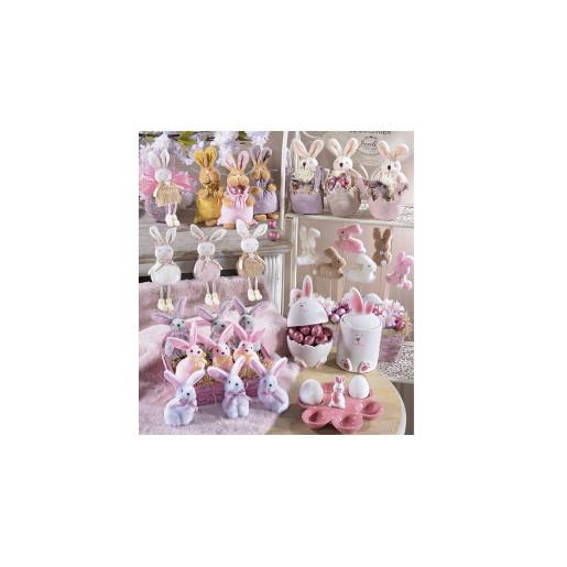 Platou Paste Iepuras 6 oua ceramica roz 17 cm x 15 cm x 7 h
