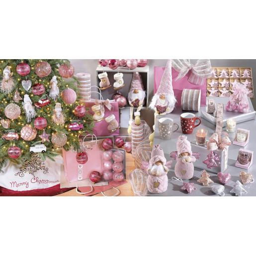 Figurina Inger roz portelan textil cm 15 x 9 x 22 H