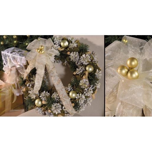 Coronita Craciun din brad artificial decorata cu globuri aurii si conuri Ø 41 cm