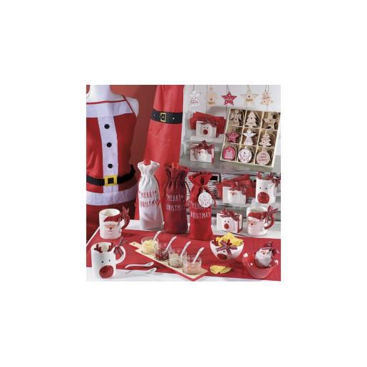 Suport ceramic servetele Ren alb rosu cm 11 x 6 x 10 H