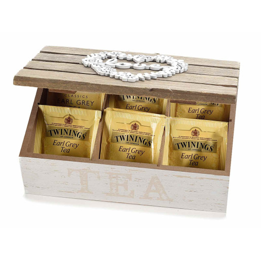 Cutie ceai lemn alb natur 6 compartimente model Love cm 21 x 14 cm x 8 H
