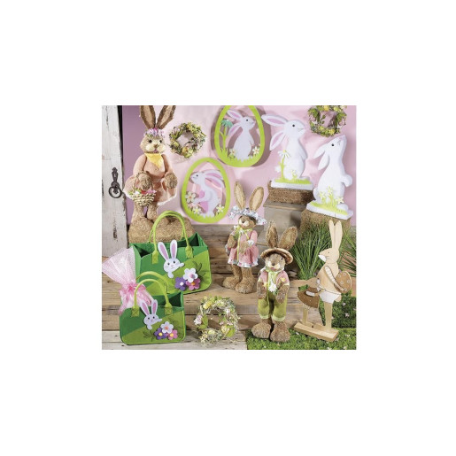 Figurina Iepuras Paste cu cosulet flori  cm 21 x 25 x 74 H