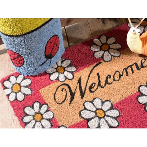 Covoras intrare casa antiderapant fibre cocos cauciuc model Floral 60 cm x 40 cm