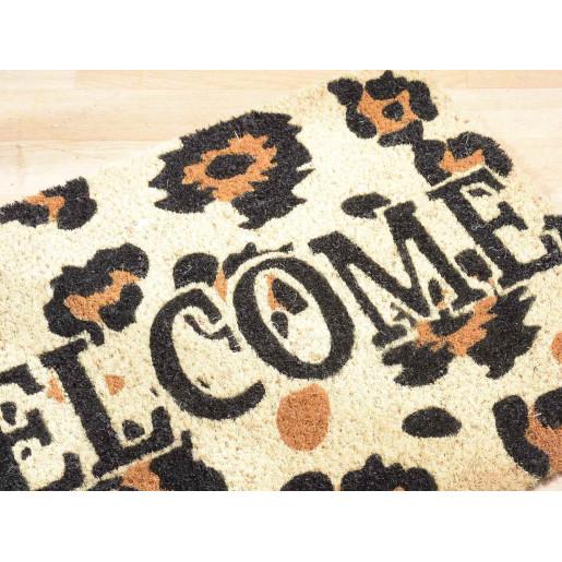 Covoras intrare casa antiderapant fibre cocos cauciuc Animal Print Welcome 60 cm x 40 cm