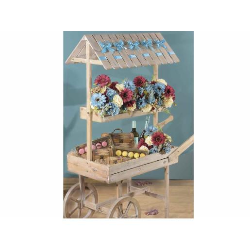 Carucior candy bar din lemn natur 132 cm x 48 cm x 150 h