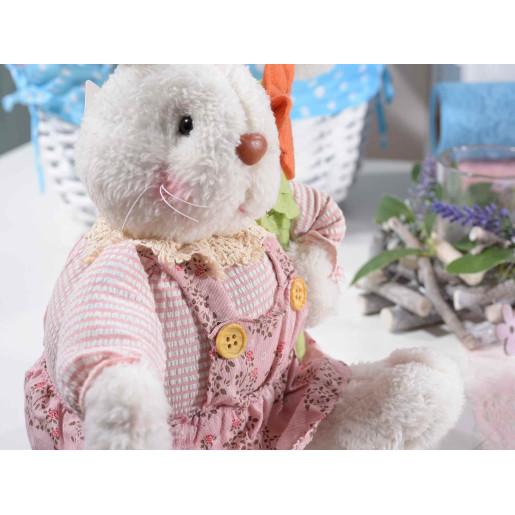 Figurina Iepuras Paste textil alb roz cm17x16x34H