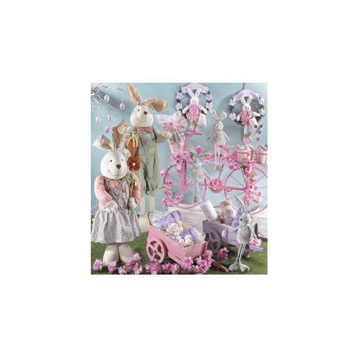 Suport flori cu 3 suporturi ghiveci metal roz model bicicleta cm 103 cm x 25 cm x 69 H