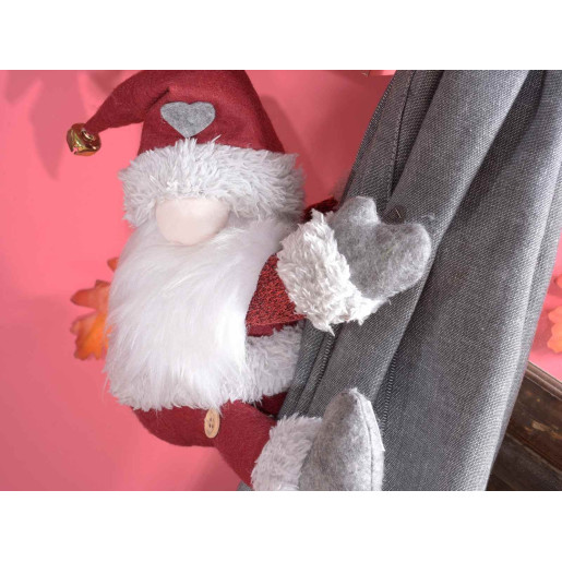 Set 2 figurine Mos Craciun textil rosu pentru prindere perdea cm 20 x 22 H