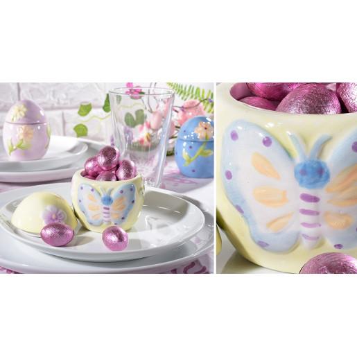 Ou Paste ceramica mov model floare Ø 7 cm x 9 h