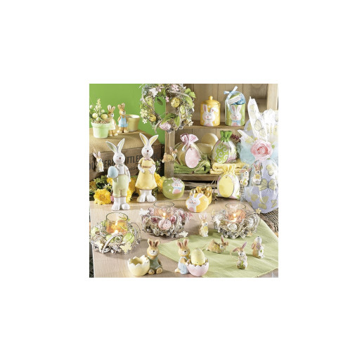 Borcan decorativ Paste model Iepuras ceramica verde Ø 8 cm x 12 H