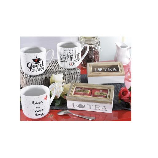 Cutie ceai lemn alb natur sticla cm 16 x 9 cm x 5 H