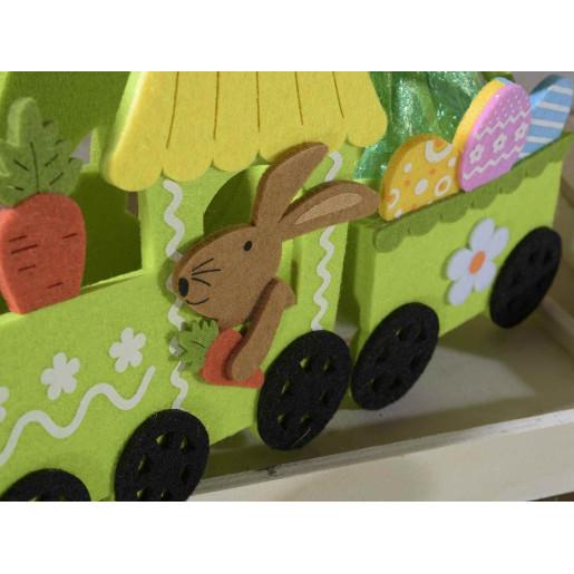 Trenulet decor Iepuras textil verde 28 cm x 8 cm x 14 h