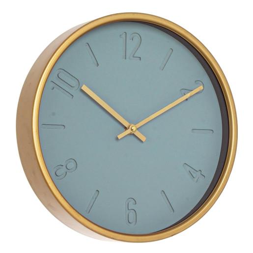 Ceas de perete metal sticla auriu albastru rotund Ticking ø30