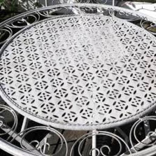 Set 2 scaune pliabile si masa fier forjat gri Garden Ø 70 cm x 75 h