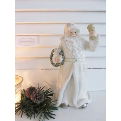 Figurina Mos Craciun Clayre polirasina alba 9 cm x 8 cm x 19 cm