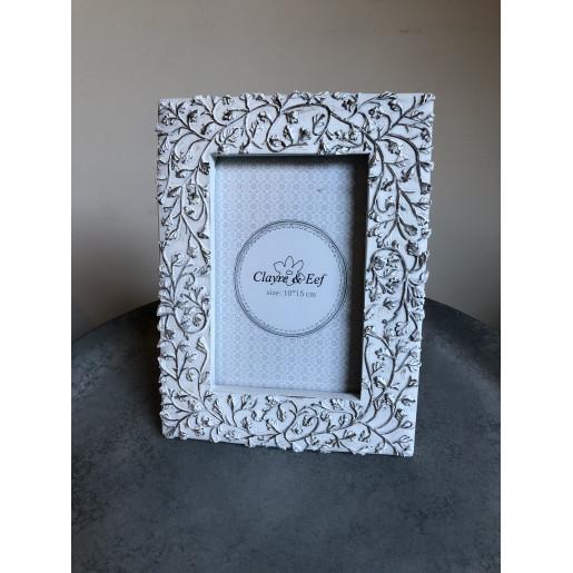 Rama foto de masa lemn alb antichizat Marlene 16 cm x 21 cm