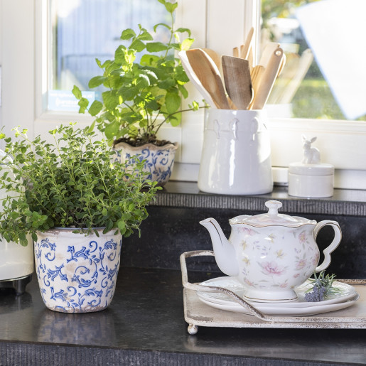 Ghiveci pentru flori ceramica alb albastru Elegance Ø 16 cm x 16 H