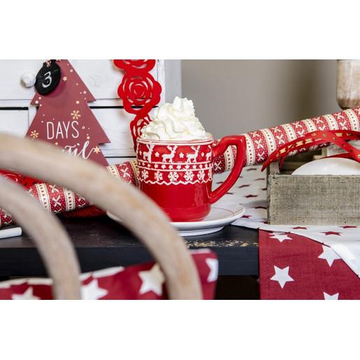 Cana ceramica rosu alb model Ren 13x9x10 cm 0.3L