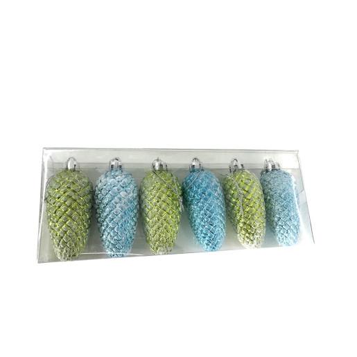 Set 6 ornamente brad Pinecone Green & Blue