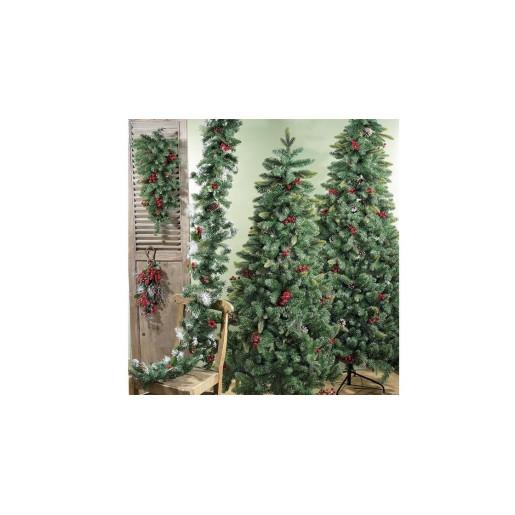 Crenguta decorativa mere rosii conuri naturale 59 cm