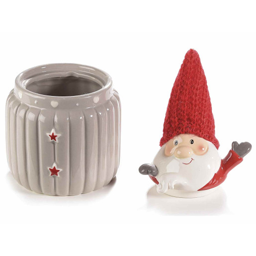 Borcan Mos Craciun ceramic decorativ gri rosu model cm 12x11x20H