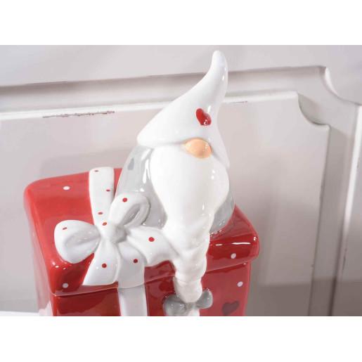 Borcan ceramic rosu alb cu capac decorativ Spiridus cm 12 x 11 x 20 H