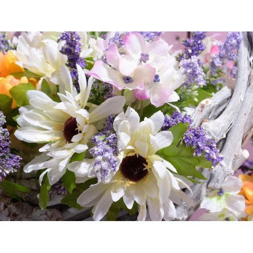 Buchet flori de camp si floarea soarelui White 20 cm