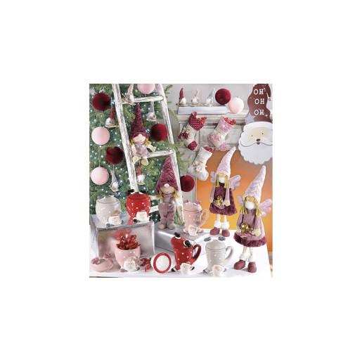 Inger decorativ portelan textil cu rochita burgundy cm 17x10x48 H
