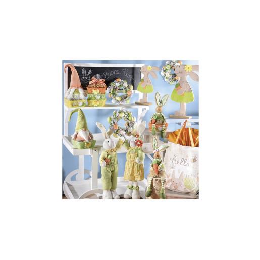Figurina Iepuras Paste Girl textil fibre naturale 12 cm x 12 cm x 52 h